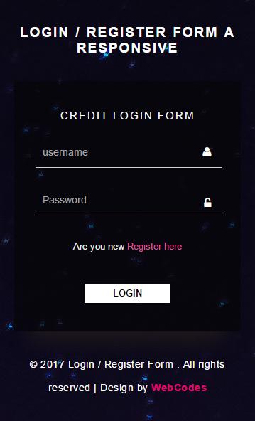 Login / Register Form a Responsive