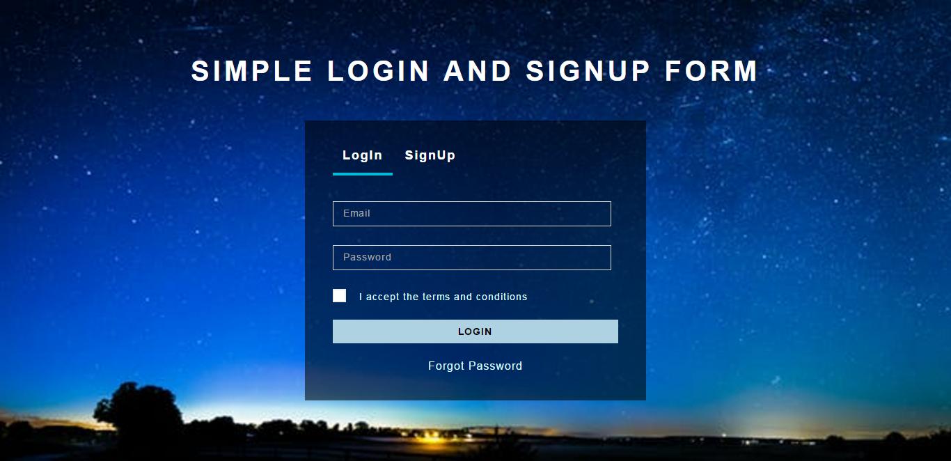 simple login & singup form